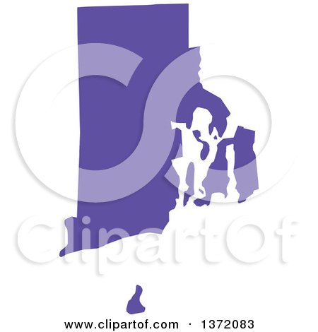 Purple Silhouetted Map Shape Of The State Of Rhode Island United States
