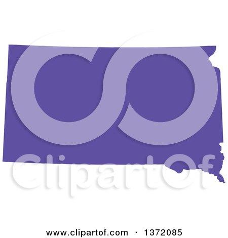 Clipart of a Purple Silhouetted Map Shape of the State of South Dakota, United States - Royalty Free Vector Illustration by Jamers