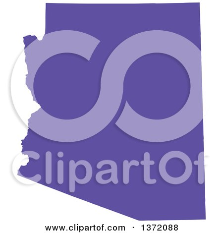 Clipart of a Purple Silhouetted Map Shape of the State of Arizona, United States - Royalty Free Vector Illustration by Jamers