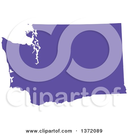 Purple State Map.Clipart Of A Purple Silhouetted Map Shape Of The State Of