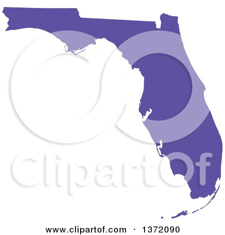 Clipart of a Purple Silhouetted Map Shape of the State of Florida, United States - Royalty Free Vector Illustration by Jamers