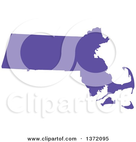 Clipart of a Purple Silhouetted Map Shape of the State of Massachusetts, United States - Royalty Free Vector Illustration by Jamers