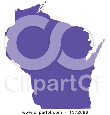 Clipart of a Purple Silhouetted Map Shape of the State of Wisconsin, United States - Royalty Free Vector Illustration by Jamers