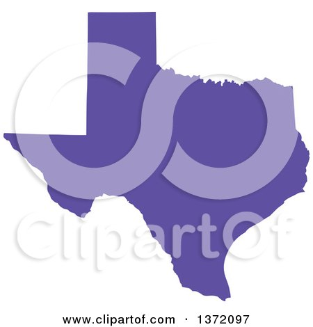Clipart of a Purple Silhouetted Map Shape of the State of Texas, United States - Royalty Free Vector Illustration by Jamers