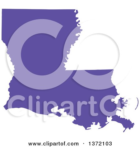 Clipart of a Purple Silhouetted Map Shape of the State of Louisiana, United States - Royalty Free Vector Illustration by Jamers