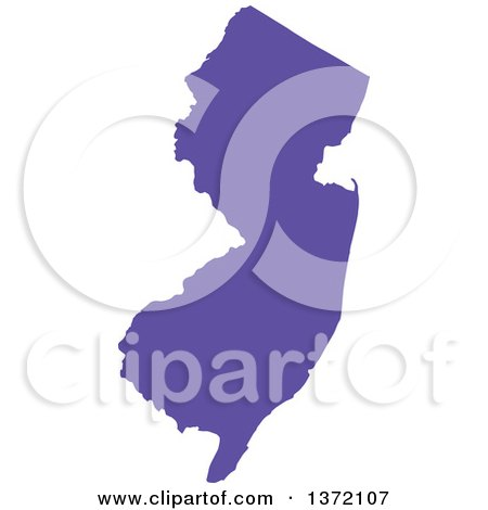 Clipart of a Purple Silhouetted Map Shape of the State of New Jersey, United States - Royalty Free Vector Illustration by Jamers