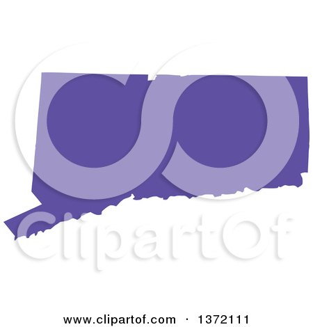 Clipart of a Purple Silhouetted Map Shape of the State of Connecticut, United States - Royalty Free Vector Illustration by Jamers
