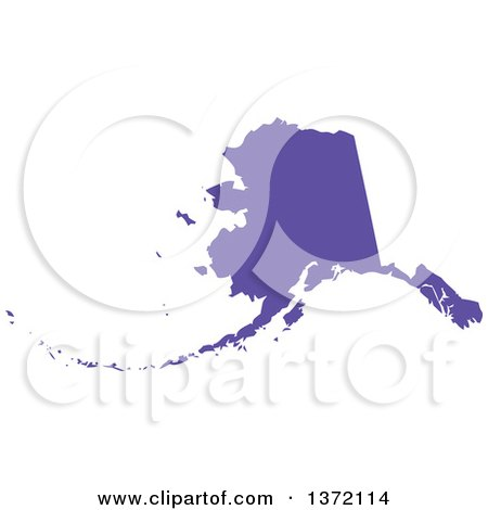 Clipart of a Purple Silhouetted Map Shape of the State of Alaska, United States - Royalty Free Vector Illustration by Jamers