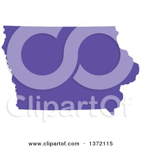 Clipart of a Purple Silhouetted Map Shape of the State of Iowa, United States - Royalty Free Vector Illustration by Jamers
