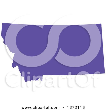 Clipart of a Purple Silhouetted Map Shape of the State of Montana, United States - Royalty Free Vector Illustration by Jamers