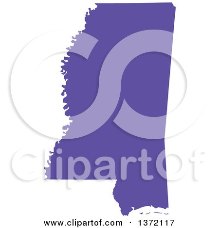 Clipart of a Purple Silhouetted Map Shape of the State of Mississippi, United States - Royalty Free Vector Illustration by Jamers