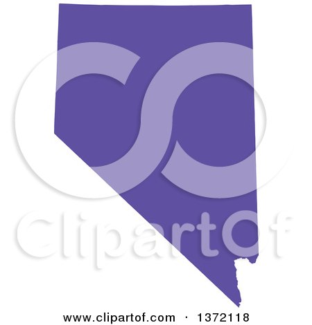 Clipart of a Purple Silhouetted Map Shape of the State of Nevada, United States - Royalty Free Vector Illustration by Jamers