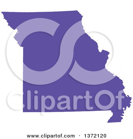 Clipart of a Purple Silhouetted Map Shape of the State of Missouri, United States - Royalty Free Vector Illustration by Jamers