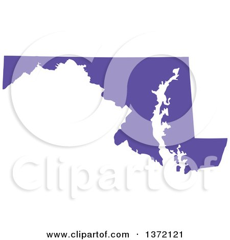 Clipart of a Purple Silhouetted Map Shape of the State of Maryland, United States - Royalty Free Vector Illustration by Jamers