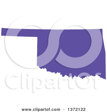Clipart of a Purple Silhouetted Map Shape of the State of Oklahoma, United States - Royalty Free Vector Illustration by Jamers