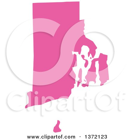 Clipart of a Pink Silhouetted Map Shape of the State of Rhode Island, United States - Royalty Free Vector Illustration by Jamers