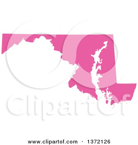 Clipart of a Pink Silhouetted Map Shape of the State of Maryland, United States - Royalty Free Vector Illustration by Jamers