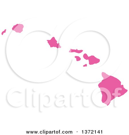 Clipart of a Pink Silhouetted Map Shape of the State of Hawaii, United States - Royalty Free Vector Illustration by Jamers
