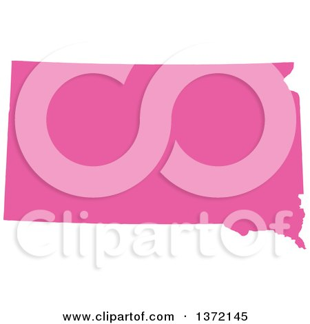 Clipart of a Pink Silhouetted Map Shape of the State of South Dakota, United States - Royalty Free Vector Illustration by Jamers