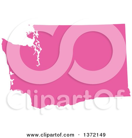 Clipart of a Pink Silhouetted Map Shape of the State of Washington, United States - Royalty Free Vector Illustration by Jamers