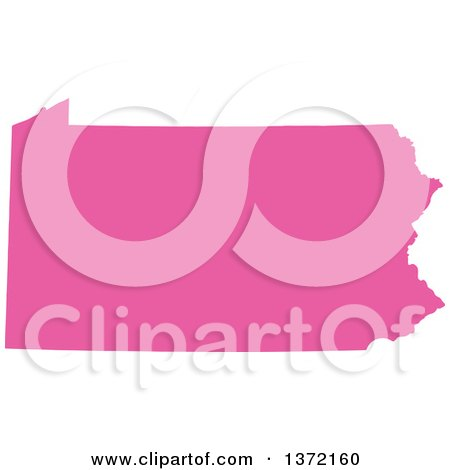Clipart of a Pink Silhouetted Map Shape of the State of Pennsylvania, United States - Royalty Free Vector Illustration by Jamers