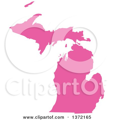 Clipart of a Pink Silhouetted Map Shape of the State of Michigan, United States - Royalty Free Vector Illustration by Jamers