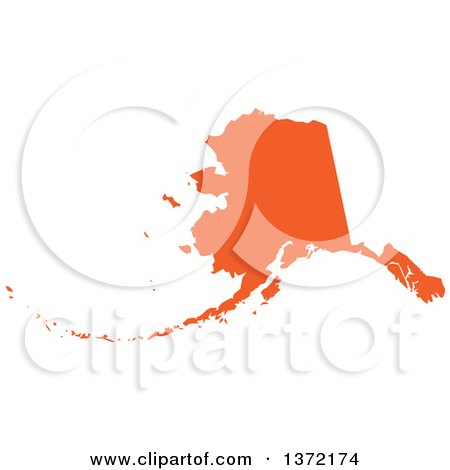 Clipart of an Orange Silhouetted Map Shape of the State of Alaska, United States - Royalty Free Vector Illustration by Jamers