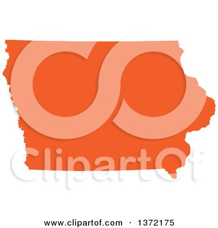 Clipart of an Orange Silhouetted Map Shape of the State of Iowa, United States - Royalty Free Vector Illustration by Jamers