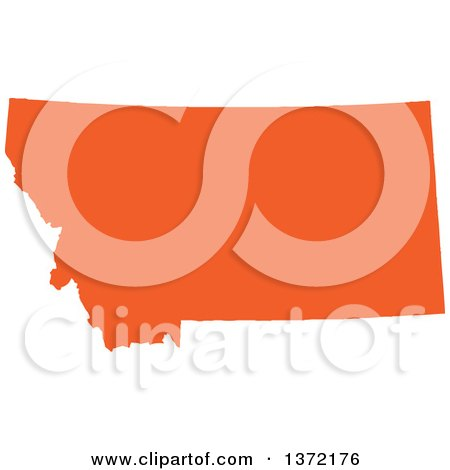 Clipart of an Orange Silhouetted Map Shape of the State of Montana, United States - Royalty Free Vector Illustration by Jamers