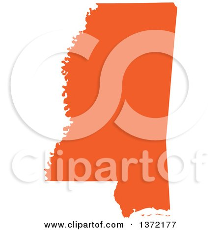 Clipart of an Orange Silhouetted Map Shape of the State of Mississippi, United States - Royalty Free Vector Illustration by Jamers