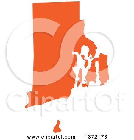 Clipart of an Orange Silhouetted Map Shape of the State of Rhode Island, United States - Royalty Free Vector Illustration by Jamers