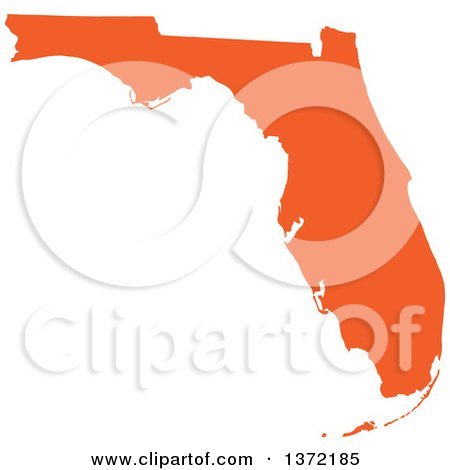 Clipart of an Orange Silhouetted Map Shape of the State of Florida, United States - Royalty Free Vector Illustration by Jamers