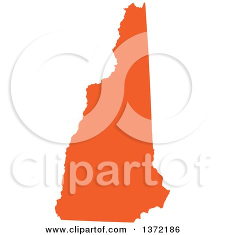 Clipart of an Orange Silhouetted Map Shape of the State of New Hampshire, United States - Royalty Free Vector Illustration by Jamers