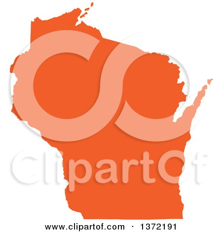 Clipart of an Orange Silhouetted Map Shape of the State of Wisconsin, United States - Royalty Free Vector Illustration by Jamers
