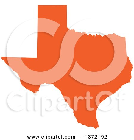 Clipart of an Orange Silhouetted Map Shape of the State of Texas, United States - Royalty Free Vector Illustration by Jamers