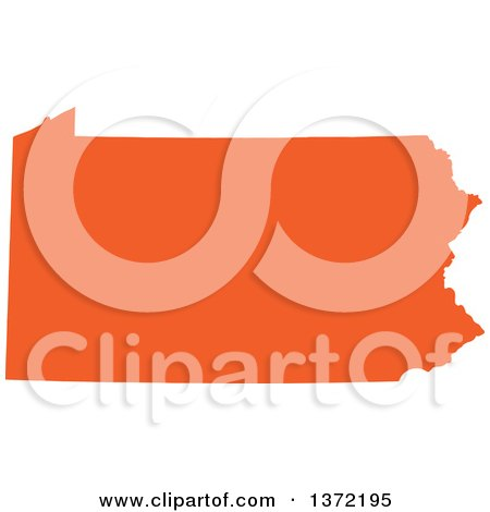 Clipart of an Orange Silhouetted Map Shape of the State of Pennsylvania, United States - Royalty Free Vector Illustration by Jamers