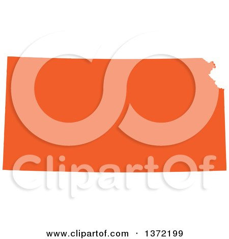 Clipart of an Orange Silhouetted Map Shape of the State of Kansas, United States - Royalty Free Vector Illustration by Jamers