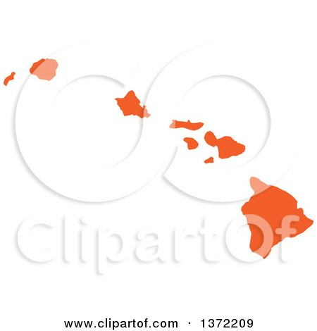 Clipart of an Orange Silhouetted Map Shape of the State of Hawaii, United States - Royalty Free Vector Illustration by Jamers