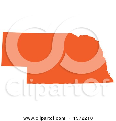 Clipart of an Orange Silhouetted Map Shape of the State of Nebraska, United States - Royalty Free Vector Illustration by Jamers