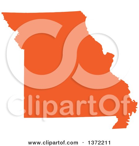 Clipart of an Orange Silhouetted Map Shape of the State of Missouri, United States - Royalty Free Vector Illustration by Jamers