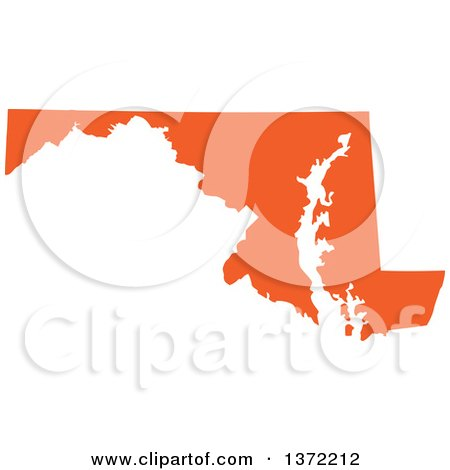 Clipart of an Orange Silhouetted Map Shape of the State of Maryland, United States - Royalty Free Vector Illustration by Jamers