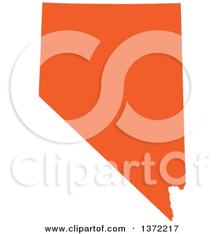 Clipart of an Orange Silhouetted Map Shape of the State of Nevada, United States - Royalty Free Vector Illustration by Jamers