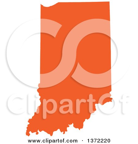 Clipart of an Orange Silhouetted Map Shape of the State of Indiana, United States - Royalty Free Vector Illustration by Jamers