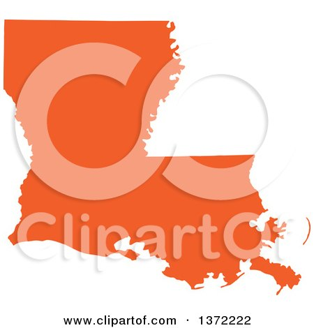 Clipart of an Orange Silhouetted Map Shape of the State of Louisiana, United States - Royalty Free Vector Illustration by Jamers