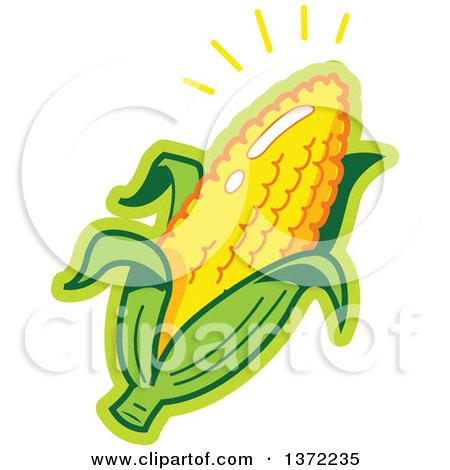 Clipart Of A Shining Ear of Corn - Royalty Free Vector Illustration by Clip Art Mascots