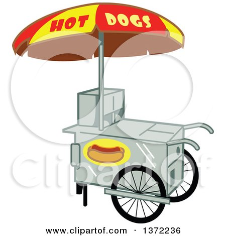 Clipart Of A Hot Dog Vendor Stand - Royalty Free Vector Illustration by Clip Art Mascots
