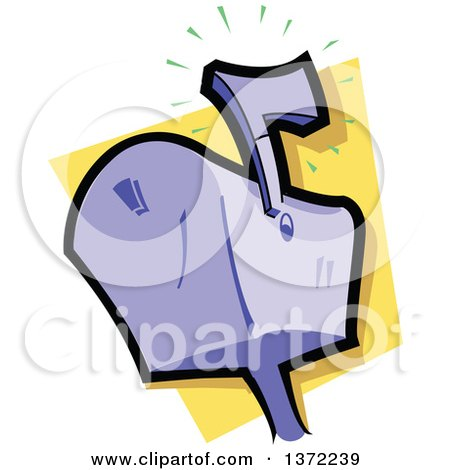 Clipart Of A Purple Mailbox With the Flag Up - Royalty Free Vector Illustration by Clip Art Mascots