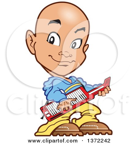 Clipart Of A Young Bald Guy Playing a Keyboard Instrument - Royalty Free Vector Illustration by Clip Art Mascots