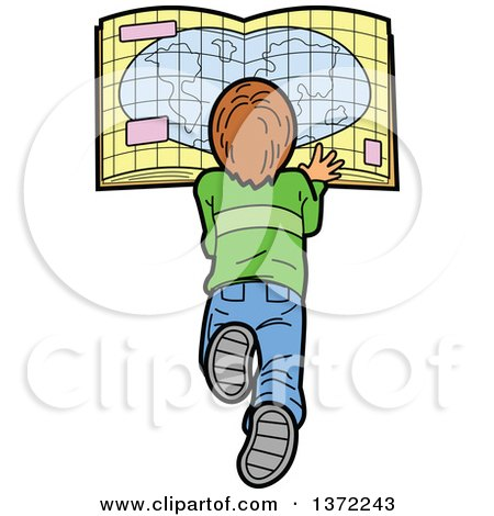 Clipart Of A Caucasian Boy Laying on the Floor and Reading a Map - Royalty Free Vector Illustration by Clip Art Mascots