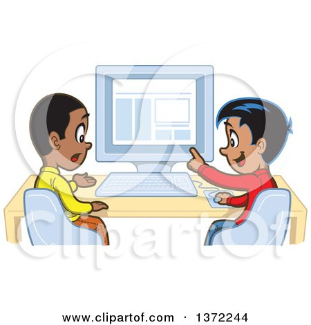 Happy Hispanic Boy Discussing Something With a Black Boy at a Computer Posters, Art Prints